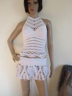 WHITE HALTER TOP  festival clothing crochet by Elegantcrochets