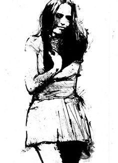 Happy Dark Lady Ink Art Print Black and white by BlackraptorArt