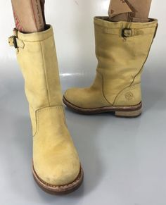Bussola N Belfast Yellow Suede Mid-Calf Riding Boot Womens 36 EU 6 US #Bussola #MidCalfBoots #Casual