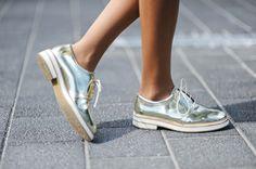 gold zara brogues / brogues / shoes