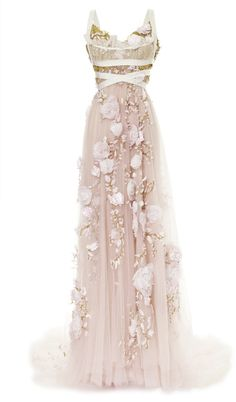 Silk Ribbon Rose Empire Waist Gown by Marchesa for Preorder on Moda Operandi White Evening Gowns, White Ball Gowns, Evening Dresses, Long Dresses, Dress Long, Dress Formal, Chiffon Dresses, Wrap Dresses, Club Dresses