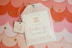 tea-party-birthday-invitation.  Using glassine bag folded to shape and staple twine with tag