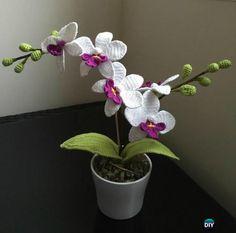 Crochet Orchid Flower Pot Free Pattern- #Crochet 3D Flower Bouquet Free Patterns