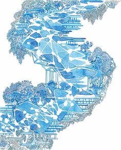 Angelika Arendt, Fineliner und Aquarell auf Papier, 30 x 24 cm