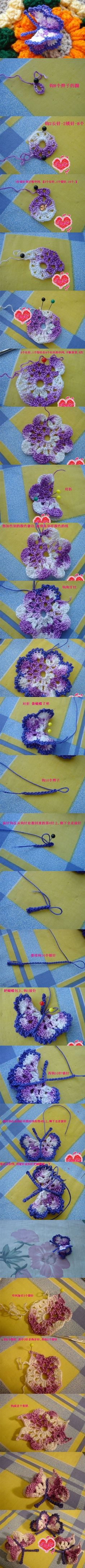 Very nice crochet butterfly and easy to perform. In the style of Irish Crochet. Use such crochet butterfly for accessories like head band, hair pin, brooch