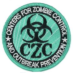 """3"""" Iron-ON CZC Centers For Zombie Control Patch Outbreak Response Team... ($9.95) ❤ liked on Polyvore featuring costumes, green costumes, living dead costume, green halloween costumes, zombie halloween costumes and zombie costume"""