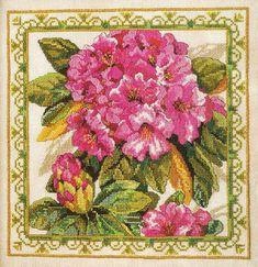 Rhododendron Tapestry - Linda Gillum (designer) - stitch count 140w x 140h