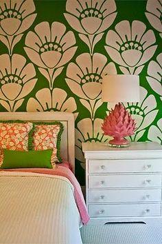 Verde e branco, papel de parede com cores diferentes. Experimente!