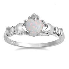 Silver And Opal Claddagh ring - - - THIS IS ACTUALLY PERFECT FOR GENEVIEVE'S BETROTHAL RING TO PETER
