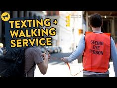 New Yorkers React to Texting and Walking Service - YouTube