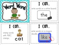 """Mrs. Ricca's Kindergarten: Literacy Centers """"I Can"""" Cards"""