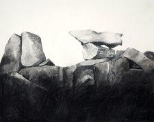 Anne Kimiläinen; Kökar´s Stonehenge, 2011, 52 x 50 cm, charcoal