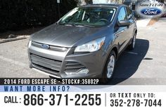2014 Ford Escape SE - Sport Utility Vehicle - I4 1.6L Engine - Keypad Door Lock - Alloy Wheels - Tinted Windows - Fog Lights - Safety Airbags - Powered Windows/Locks/Mirrors/Driver Seat - Seats 5 - AM/FM/CD/SIRIUS Satellite - iPod/Aux/USB Ports - Bluetooth - SYNC by Microsoft - Backup Camera - Cruise Control - Dual Exhaust and more!