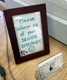 I just got an unexpected Christmas present: my first senior discount. Woo-hoo!