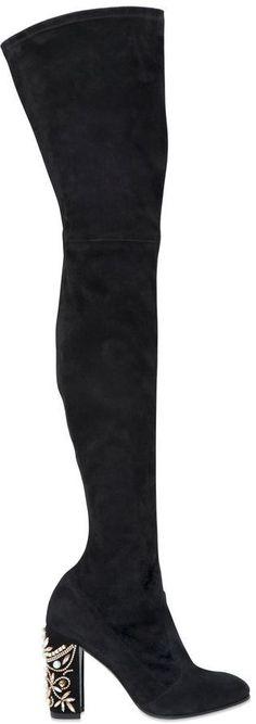 90mm Swarovski Suede Over The Knee Boots - 90mm Swarovski crystal embellished heel . Side zip closure . Glittered leather sole