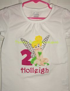 Tinkerbell Birthday in Pink with any birthday # or none.  Sizes 12 months through 6/6x