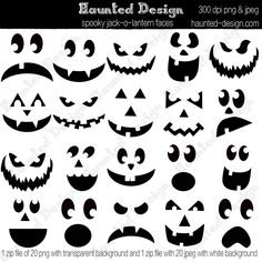 This set of 25 Jack-o-lantern faces will make your halloween amazing. Print them out, cut them out and put a spooky face on almost anything. It comes with pumpkin digital art so you can make traditional jack-o-lanterns to print out. Awesome!