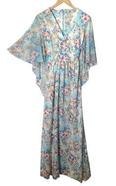 Vintage 70s Floral Hippie Boho Festival Batwing Maxi Dress Sz 18 Fits 14 16 L/XL #Fashionsenseforcents #boho