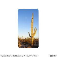 Saguaro Cactus And Sunset Label