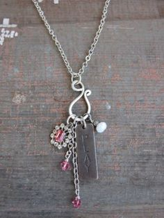 PLAY Pink Rhinestone Necklace by BelleVia on Etsy, $32.00