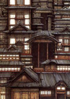 """Roppongi, Minato, Tokyo"" illustration by Tsutomu Nihei for ""Megalomania"" magazine (© 2000)."