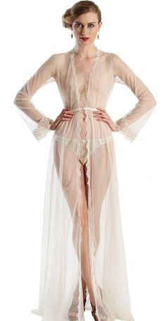 Angela Friedman The Clair de Lune robe is a soft mesh negligee, perfect for a Hollywood starlet or blushing bride.