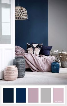 Pink and blue bedroom navy blue mauve and grey color palette color inspiration pink blue white bedroom Navy Bedrooms, Small Bedrooms, Navy Bedroom Decor, Diy Bedroom, Navy Bedroom Walls, Bedroom Headboards, Colors For Bedrooms, Gray Walls, Bedroom Furniture