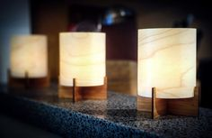 Tealight Lanterns with Bamboo Base & Real Wood by portrhombus