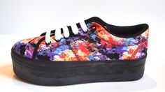 JEFFREY CAMPBELL TURQUOISE BLACK RED PURPLE PLATFORM SNEAKERS FLORAL 7 8 9