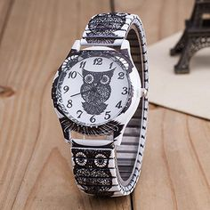 Geneva Women Stainless Steel Owl Dial Analog Quartz Dress Sport Wristwatch.