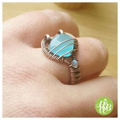 Wire wrapped chalcedony ring/ friendship ring by FromRONIKwithLove