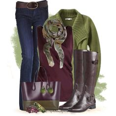 """Olive, Plum and Boots for Fall"" by tufootballmom on Polyvore"
