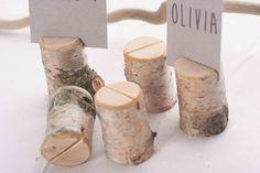 1 sample rustic birch place card holder, Wedding card holders, name card holders, wooden place card holders, wooden holder with bark