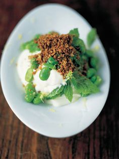 Jamie Oliver - Moroccan style broad bean salad with yoghurt - This is a really great combination of flavours, colours and textures.