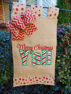 Burlap Christmas  Garden flag, Embroidered and Appliqued Merry Christmas Y'All  12 x 18, yard decoration, Christmas Decor, by cindidavis1 on Etsy