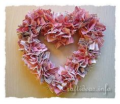 Fabric Heart Wreath.  Super easy to make.  Uses fabric scraps and styrofoam…