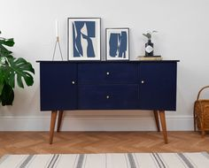 Mid Century Small Sideboard Media Tv Unit Painted Navy Blue With Teak Legs Sideboard Table, Painted Sideboard, Small Sideboard, Vintage Sideboard, Credenza, Mid Century Modern Sideboard, Mid Century Sideboard, Mid Century Cabinet, Side Board