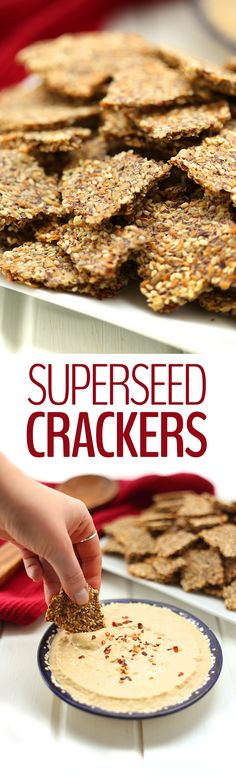 Crackers just got a healthy makeover with these SuperSeed Crackers made entirely from fiber-rich and omega-filled super seeds! Grab your seeds, mix with water and spices and bake! That& all you need for this healthy snack recipe perfect for dipping. Healthy Crackers, Homemade Crackers, Healthy Treats, Healthy Savoury Snacks, Paleo Crackers Recipe, Healthy Kids, Raw Food Recipes, Low Carb Recipes, Snack Recipes
