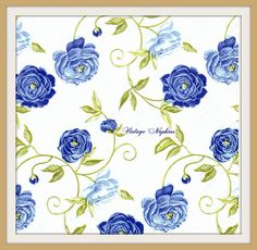 SALE *** 2 PAPER NAPKINS for Decoupage - Small Blue Roses #005 by VintageNapkins on Etsy