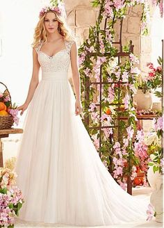 Buy discount Stunning Tulle Queen Anne Neckline A-line Wedding Dress With Embroidery at Dressilyme.com