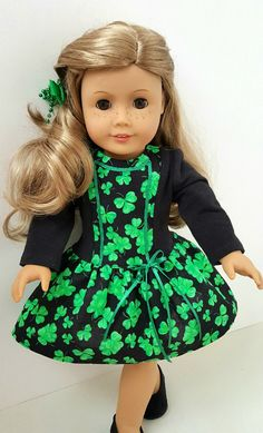 American Girl Doll Clothes : Irish Shamrock Dress & Hairpiece by ILuvmCreations on Etsy