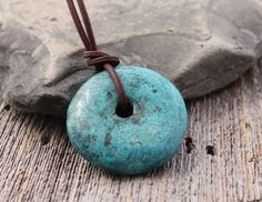 blue turquoise pendant on adjustable leather by TheSpiralRiver