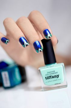 Zara Shoes nail art Inspiration - Tiffany (Picture Polish), Essie (Aruba Blue), Butter London (Slapper) and A England (Camelot)