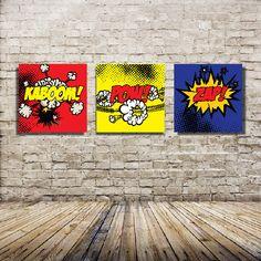 Set of Three - 16x16 Canvas Prints - Comic Book Theme Canvas Wraps - Super Hero.