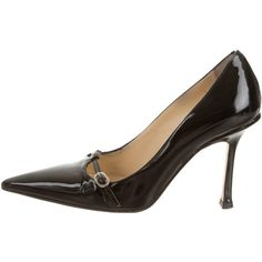 Pre-owned Jimmy Choo Pumps ($125) ❤ liked on Polyvore featuring shoes, pumps, black, black patent shoes, buckle shoes, black pumps, patent leather pumps and jimmy choo shoes