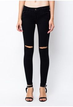 Wanita > Pakaian > Bawahan > Jeans > Aster Ladies Soft Jeans Fit Black Tattered 1 -stretch > Nuber
