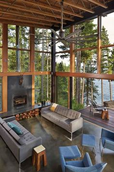 A rustic living room overlooking lake Cle Elum, in Northern Washington. [619 × 929] - Interior Design Ideas, Interior Decor and Designs, Home Design Inspiration, Room Design Ideas, Interior Decorating, Furniture And Accessories