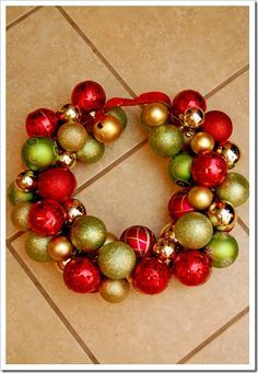 An Ornament Wreath using a wire coat hanger instead of a foaim wreath!