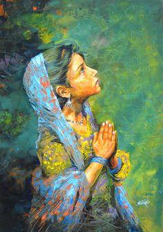 Buy Green acrylic Painting by artist Milind Varangaonkar on Canvas. India Painting, Indian Art Paintings, Amazing Paintings, Buddha Art, Mystique, Krishna Art, Radhe Krishna, Indian Artist, Religious Art