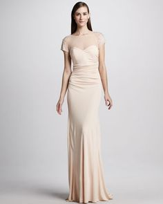 Badgley Mischka Beaded Illusion Cap-Sleeve Gown - Neiman Marcus